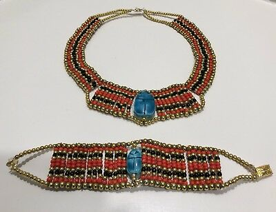Ancient Egyptian Cleopatra Beaded Collar Necklace Bracelet Halloween Costume