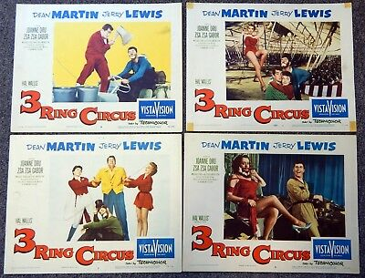 3 Ring Circus 1954 Lobby Card Complete Set Of 8  Dean Martin Jerry Lewis Comedy