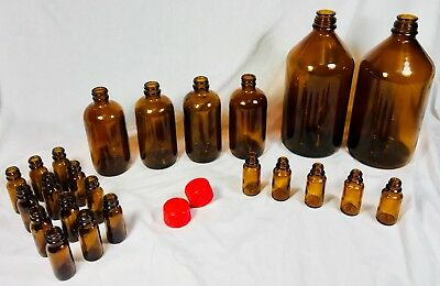 Sigma-Aldrich Various 23 LOT size Amber Glass Bottles Vials Science Laboratory