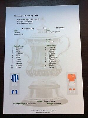1958-59 Worcester City v Liverpool FA Cup 3rd Round matchsheet