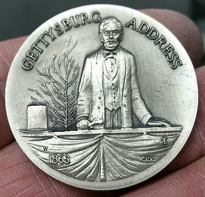 Longines Symphonette Gettysburg Address 34.1 gm .925 Silver Medal Collector Coin