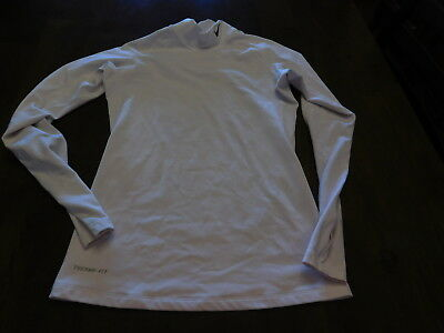 Nike Pro Fitted Compression Shirt Size Medium (8-10) Women's White Therma-Fit