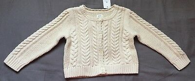 Baby Girl 12-18 Month Baby Gap Off White Cable Knit Cardigan Sweater