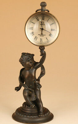 antique Big bronze hand carving baby statue figure mechanical Watch Clock