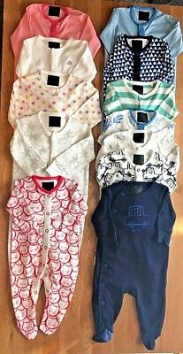 New Ex Next Baby Boys Girls Pink Blue White 100% Cotton Quality Sleepsuits