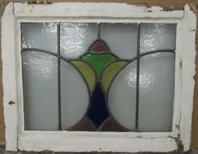 "OLD ENGLISH LEADED STAINED GLASS WINDOW Pretty Abstract Design 21"" x 16.25"""