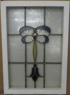 "MID SIZED OLD ENGLISH LEADED STAINED GLASS WINDOW Pretty Bows & Drop 19"" x 27"""