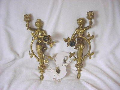 RARE Antique PAIR Boy & Girl BRONZE Gilt Double LIGHT Electric WALL Sconce 1900?