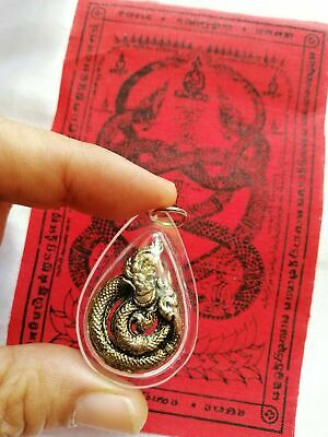Pendant Naga Snake Talisman Pha yant Fetish Thai Amulet Rich Lucky mercy Success