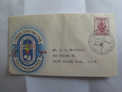 FIRST DAY COVER MELBOURNE XVIth OLYMPIAD 4 pence STAMP 1956 OLYMPICS RUNNER
