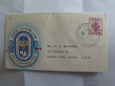 FIRST DAY COVER MELBOURNE XVIth OLYMPIAD 4 pence STAMP 1956 OLYMPICS HIGH JUMPER