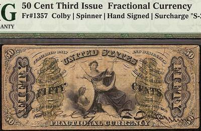 50 CENT RED REVERSE FIBER PAPER HAND SIGNED JUSTICE FRACTIONAL NOTE Fr 1357 PMG