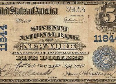 1902 $5 DOLLAR BILL SEVENTH NATIONAL BANK NOTE LARGE CURRENCY PAPER MONEY Fr 607