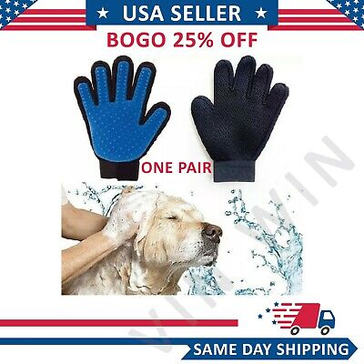 Pair Pet Deshedding Grooming Glove Brush Dog Cat Fur Hair Removal Mitt Massage