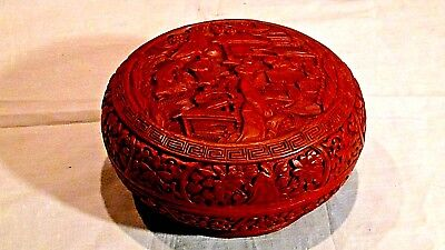 Antique Chinese Carved Red Lacquered Ornate Round Scholar's Scene Cinnabar Box