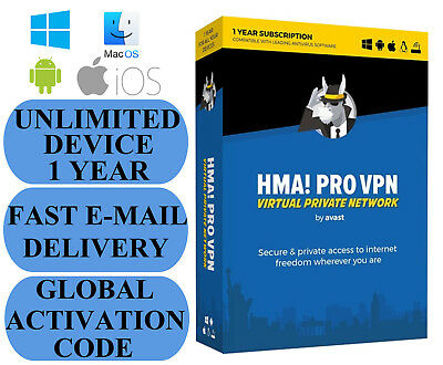 Hide My Ass! PRO VPN UNLIMITED DEVICE / 1 YEAR GLOBAL ACTIVATION CODE 2019 NO CD