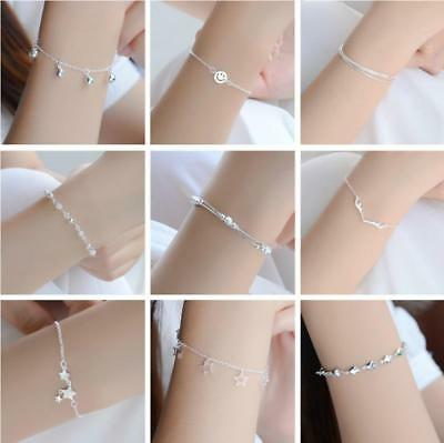 Fashion Women's Lady 925 Silver Charm Bangle Chain Bracelet Jewelry Sterling Hot