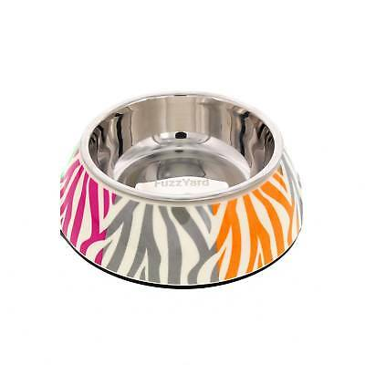 Fuzzyard Multi Animal Stripes Cat Bowl With Rubber Base Melamine Design