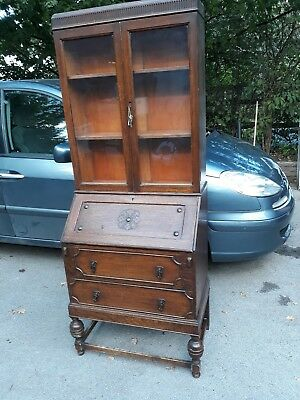 Lovely Vintage Solid Oak Glazed Bookcase Bureau **cheshire**