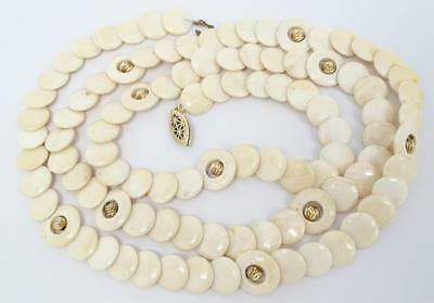 """Antique Chinese Carved Disc Necklace 36"""" Opera Length / Doubled Choker Length"""