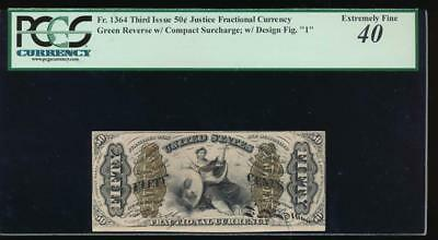 AC Fr 1364 $0.50 fractional Third issue Justice PCGS 40 comment '1' on front