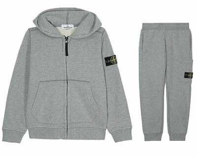 Boys Stone Island Junior 691660640 V1064 Hooded Tracksuit Grey 8-14 Years