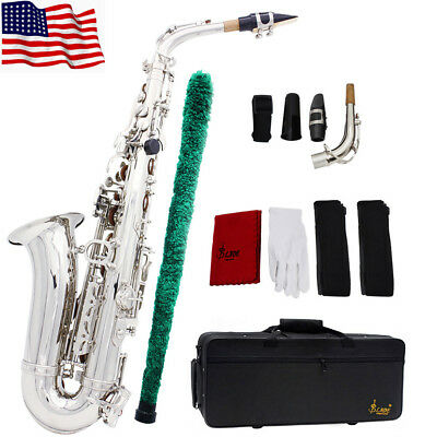Hot LADE Brass Alto Saxophone Sax Eb E-Flat Wind Instrument for Students Silver