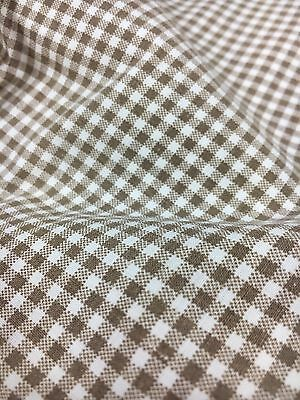"""A1 Vintage Fabric Cotton Primitive Gingham Print Quilting Brown Checked 25"""" X 26"""