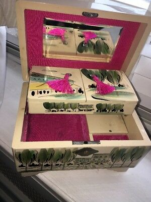 Fuji Vintage Japanese Jewellery Box French Theme Pink InnerRare Lovely Condition