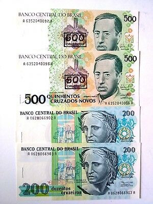 1990 Brazil 200 & 500 CRUZADOS BANK NOTE UNC set  LOT of  2 X 2 PCS from bundle