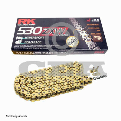 Motorcycle Chain Gold XW Ring RK GB530ZXW with 116 Rollers and Rivet Link Open
