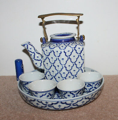 A C20th Chinese Style 100% Hand Painted B/W Brass Handle Tea Pot 4 Cups Tray Set