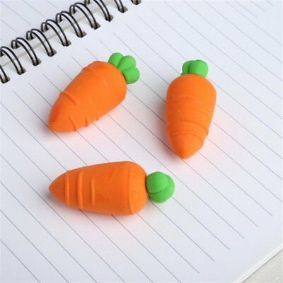 3pcs Lovely Carrot Pencil Erasers School Office Stationery Gift for Kids Toys ES