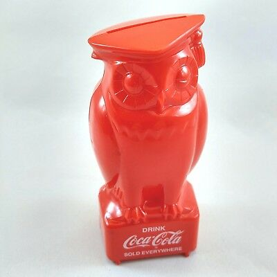Owl Coca Cola Bank Red Plastic Professor Graduate Drink Coke Sold Everywhere Vtg