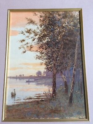 Art Nouveau Period Antique Watercolour Silver Birches At Sunset W H Simpson 1912