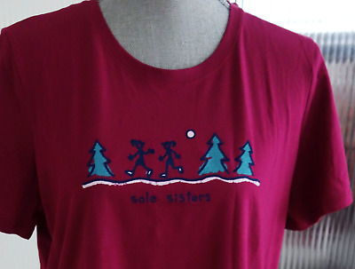 LIFE IS GOOD Women's LARGE Wild Plum JACKIE Jogging SOLE SISTERS S/S Tee NWT
