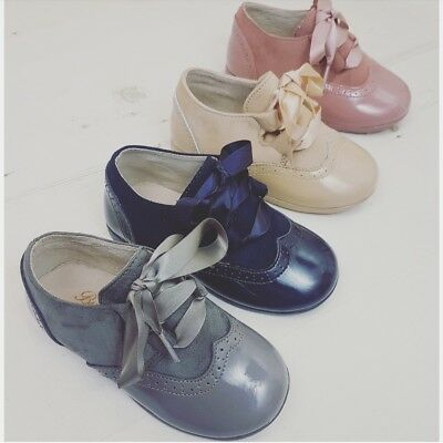 spanish girls boys baby shoes pink navy grey beige 3 4 5 6 7 8 4.5 19 20 21 0-3m