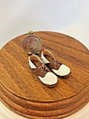 Dollhouse Miniature Hand Made Leather Brown and White Golf Shoes 1:12