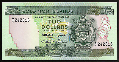 SOLOMAN ISLANDS- 2 DOLLARS BANKNOTE PICK-13a 1986 ISSUE CHOICE UNCIRCULATED