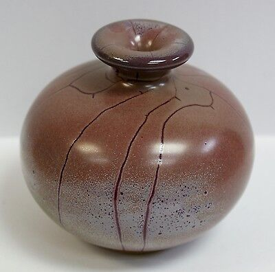"""Signed Contemporary Chinese Pottery Terracotta Speckle Glaze Vase 3"""" Tall"""