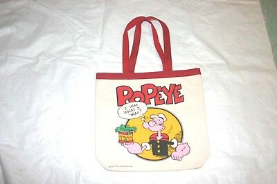 """Vintage Unused Popeye"""" I Yam What I Yam""""  Heavy Canvas Tote Bag Dated 1980"""