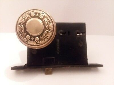 Antique BRASS ORNATE DOOR KNOB SET - Double Key & Push Button