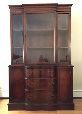 Antique China Hutch Serpentine Drawers Display Cabinet Nice Condition