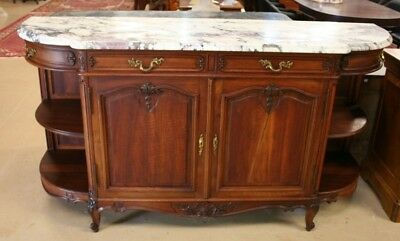 Antique French Walnut Sideboard Louis XV Style Chest Buffet Console Marble 78""