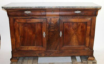 Antique French Louis Philippe Buffet Sideboard Chest Flame Mahogany Empire 63.5""