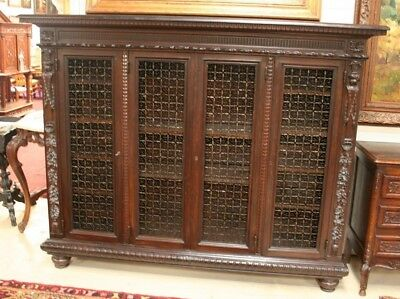 """Italian Renaissance Style 4 Door Bookcase w Iron Grills Carved W 88""""x H 65"""""""