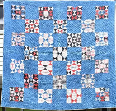 "Antique Quilt, Hand Quilted ""Hourglass"" in Blue & Multi Calicoes, 1880's, #18380"