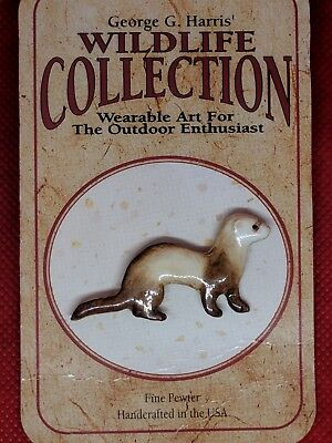 Vintage Wildlife Collection Fine Pewter Ferret Lapel Pin By George G Harris