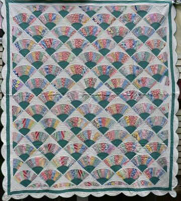 "Antique Quilt, Hand Quilted Queen ""Fans"" Quilt, Triple Borders, c 1930's, #18381"