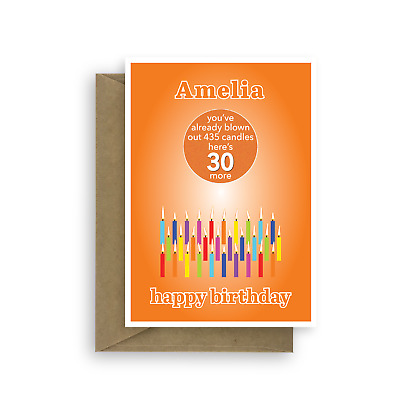 Funny 30th Birthday Card For Him Her Edit Name 30 Bday Candles
